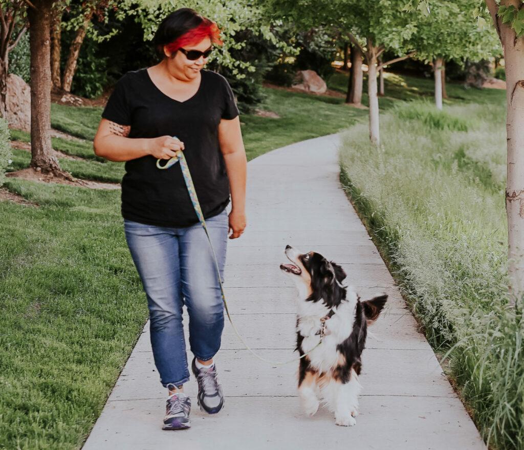 Shawna Dowd walking her dog